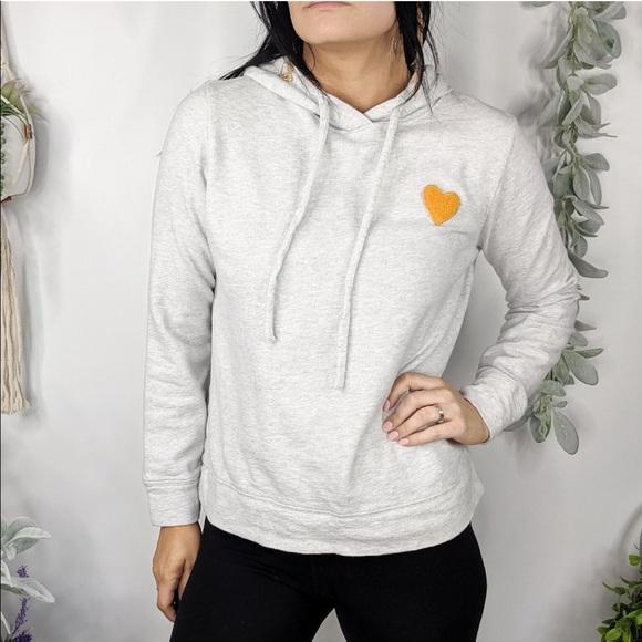 Lou & Grey Tops - LOU & GREY Sweatshirt Gray Heart Embroidered 0800